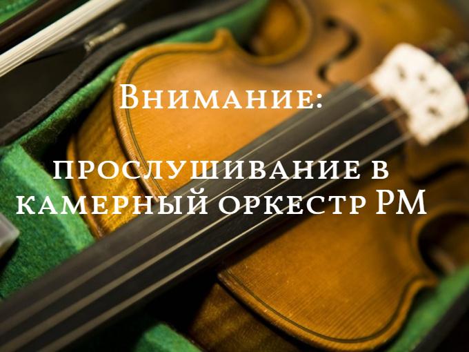 Внимание: прослушивание в Государственный камерный оркестр РМ